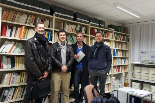 Bibliothèque d'HTL (décembre 2015): de gauche à droite, F. Cinato, M. Zisk, A. Blom, P. Moran.